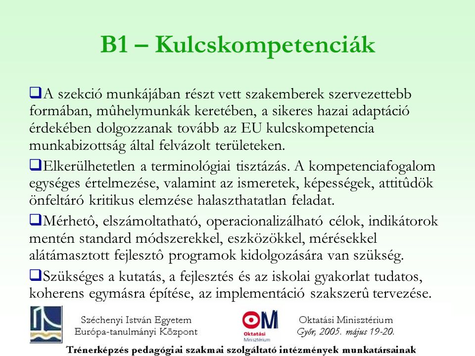 B1 – Kulcskompetenciák
