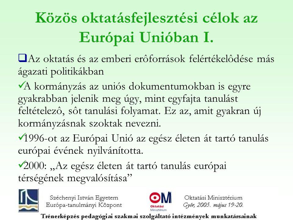 Közös oktatásfejlesztési célok az Európai Unióban I.