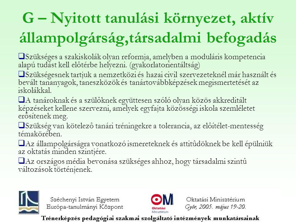 G – Nyitott tanulási környezet, aktív állampolgárság,társadalmi befogadás