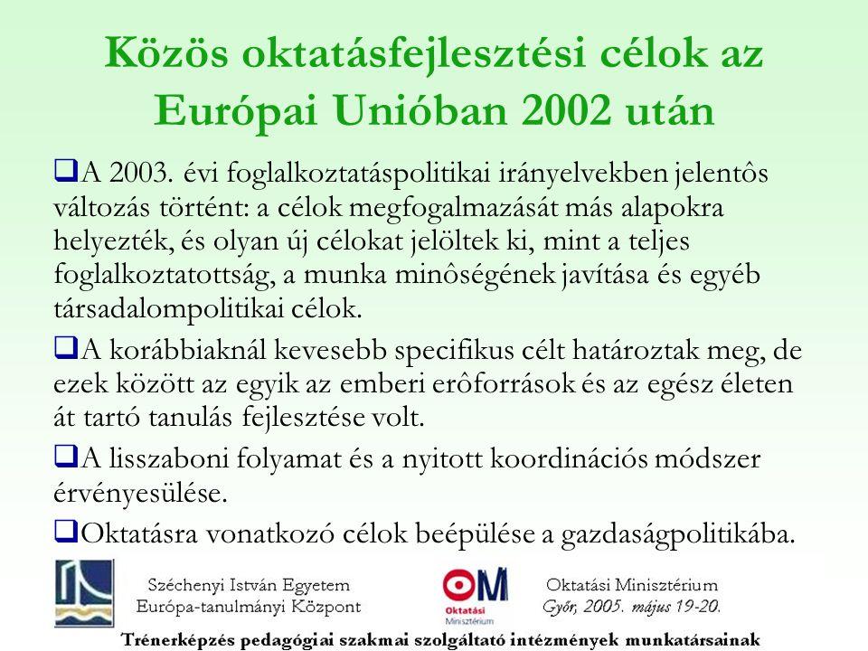 Közös oktatásfejlesztési célok az Európai Unióban 2002 után