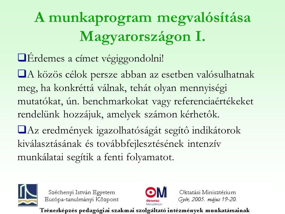 A munkaprogram megvalósítása Magyarországon I.