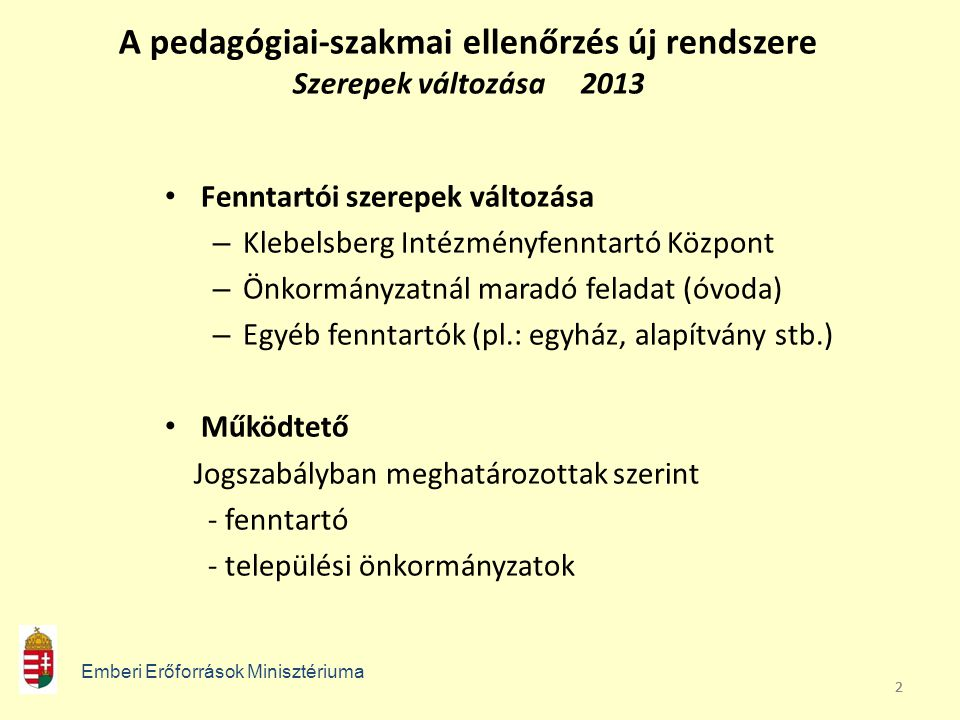 A pedagógiai-szakmai ellenőrzés új rendszere Szerepek változása 2013