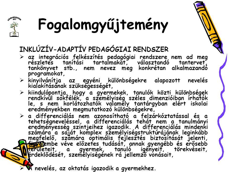 Fogalomgyűjtemény INKLÚZÍV-ADAPTÍV PEDAGÓGIAI RENDSZER