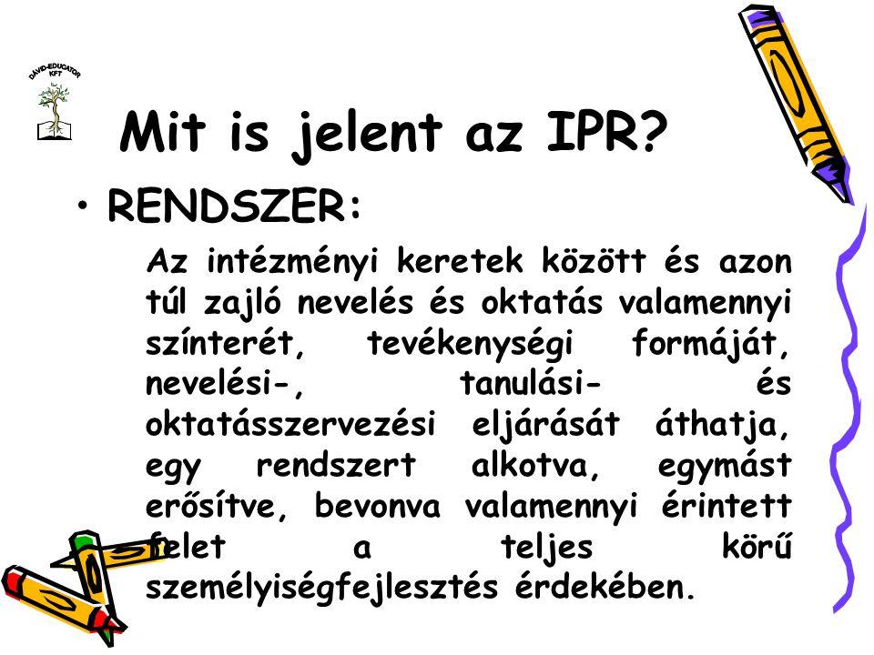 Mit is jelent az IPR RENDSZER: