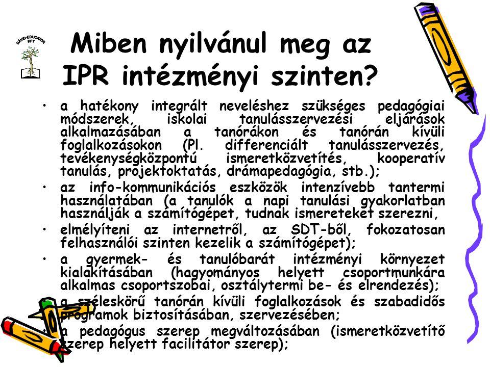Miben nyilvánul meg az IPR intézményi szinten
