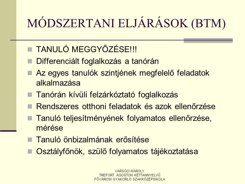MÓDSZERTANI ELJÁRÁSOK (BTM)