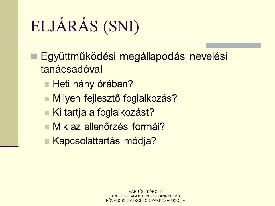 ELJÁRÁS (SNI) Együttműködési megállapodás nevelési tanácsadóval