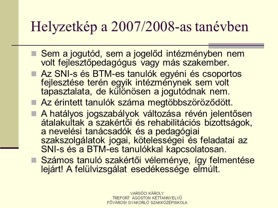 Helyzetkép a 2007/2008-as tanévben