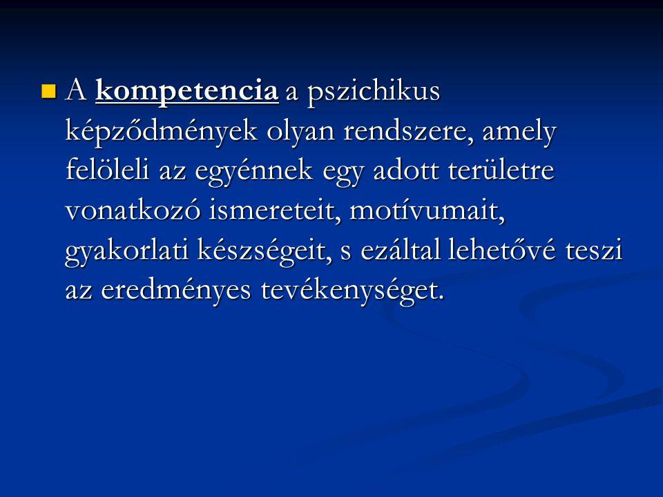 A kompetencia a pszichikus képződmények olyan rendszere, amely felöleli az egyénnek egy adott területre vonatkozó ismereteit, motívumait, gyakorlati készségeit, s ezáltal lehetővé teszi az eredményes tevékenységet.