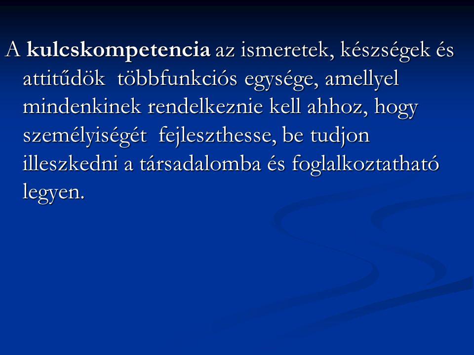 A kulcskompetencia az ismeretek, készségek és attitűdök többfunkciós egysége, amellyel mindenkinek rendelkeznie kell ahhoz, hogy személyiségét fejleszthesse, be tudjon illeszkedni a társadalomba és foglalkoztatható legyen.