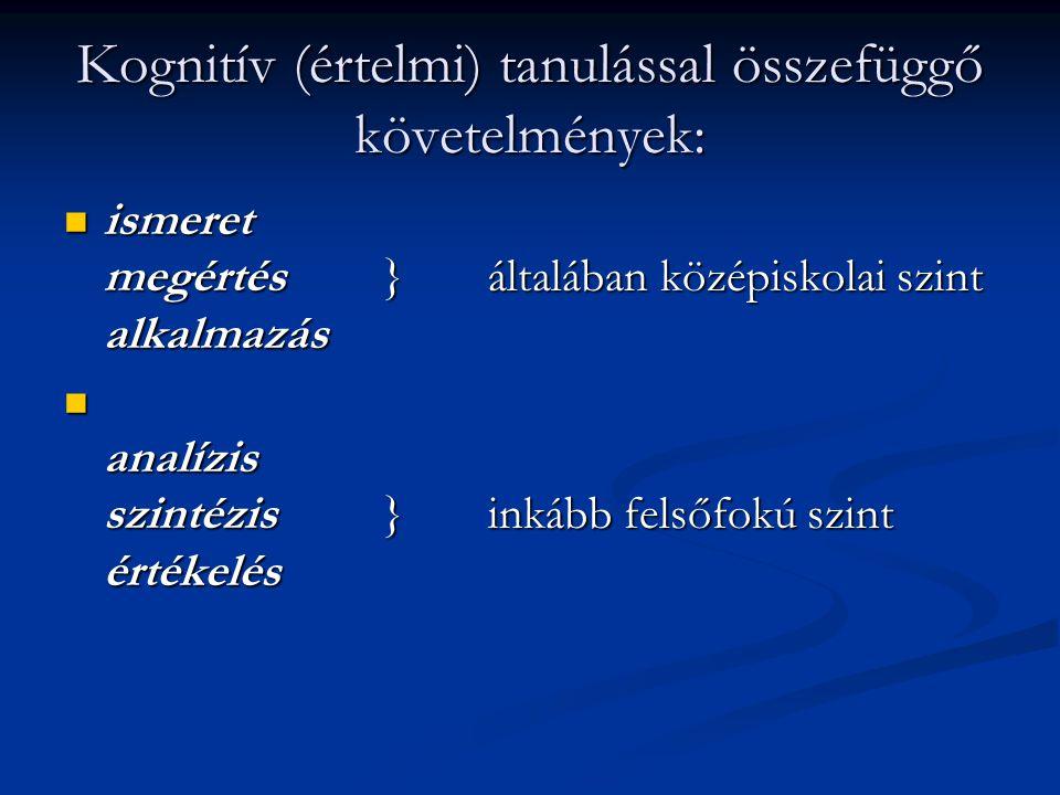 Kognitív (értelmi) tanulással összefüggő követelmények: