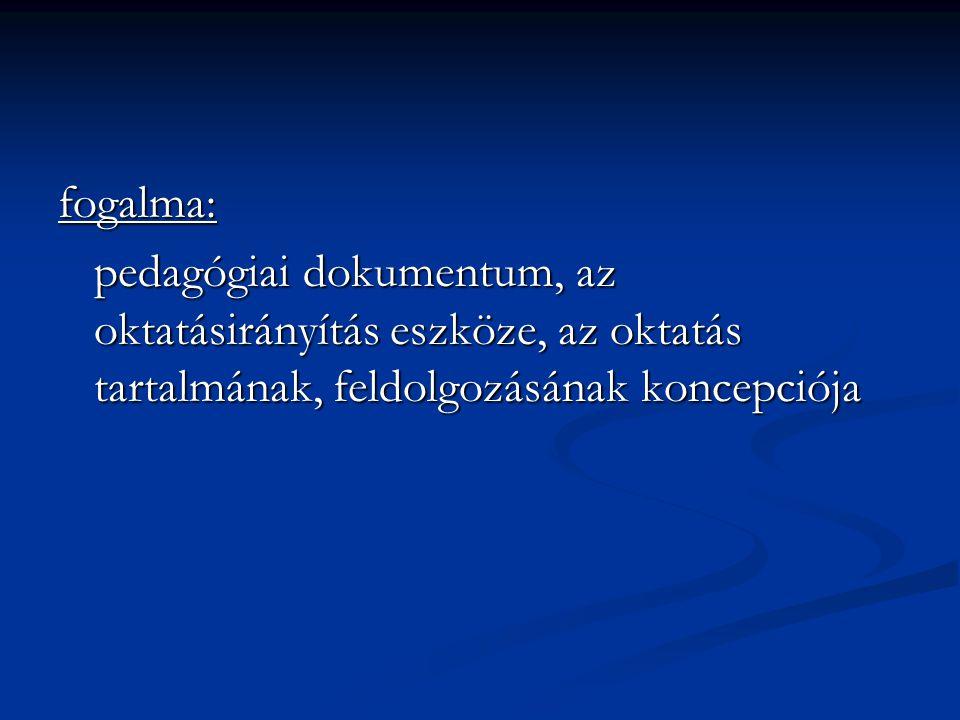 fogalma: pedagógiai dokumentum, az oktatásirányítás eszköze, az oktatás tartalmának, feldolgozásának koncepciója.