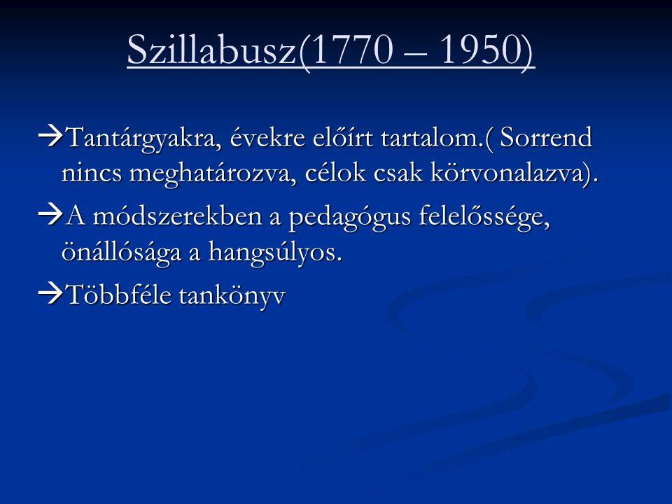 Szillabusz(1770 – 1950) Tantárgyakra, évekre előírt tartalom.( Sorrend nincs meghatározva, célok csak körvonalazva).