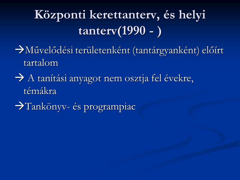 Központi kerettanterv, és helyi tanterv(1990 - )