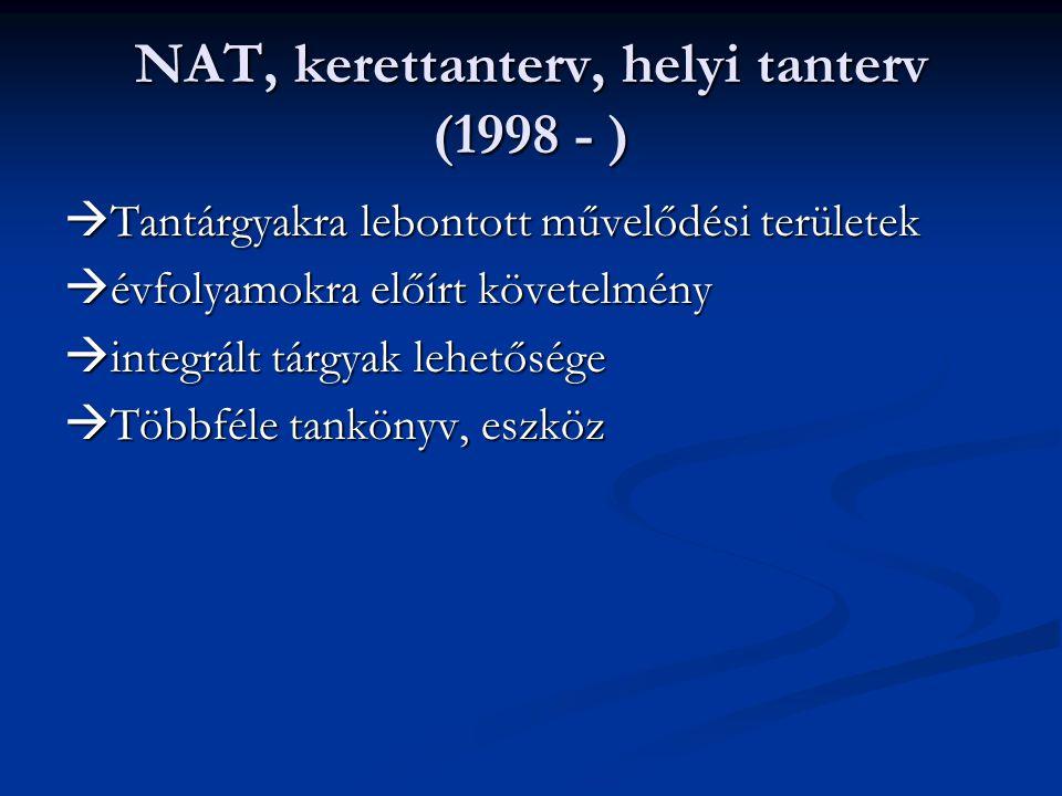 NAT, kerettanterv, helyi tanterv (1998 - )