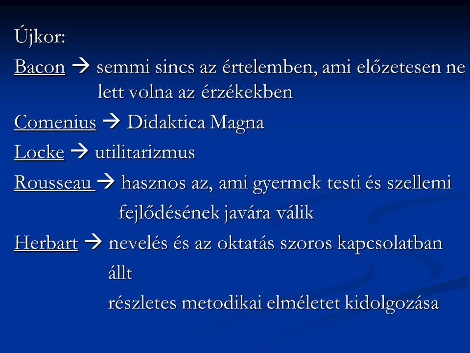 Újkor: Bacon  semmi sincs az értelemben, ami előzetesen ne lett volna az érzékekben. Comenius  Didaktica Magna.