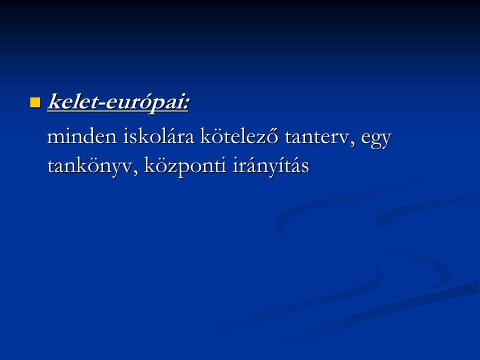 kelet-európai: minden iskolára kötelező tanterv, egy tankönyv, központi irányítás