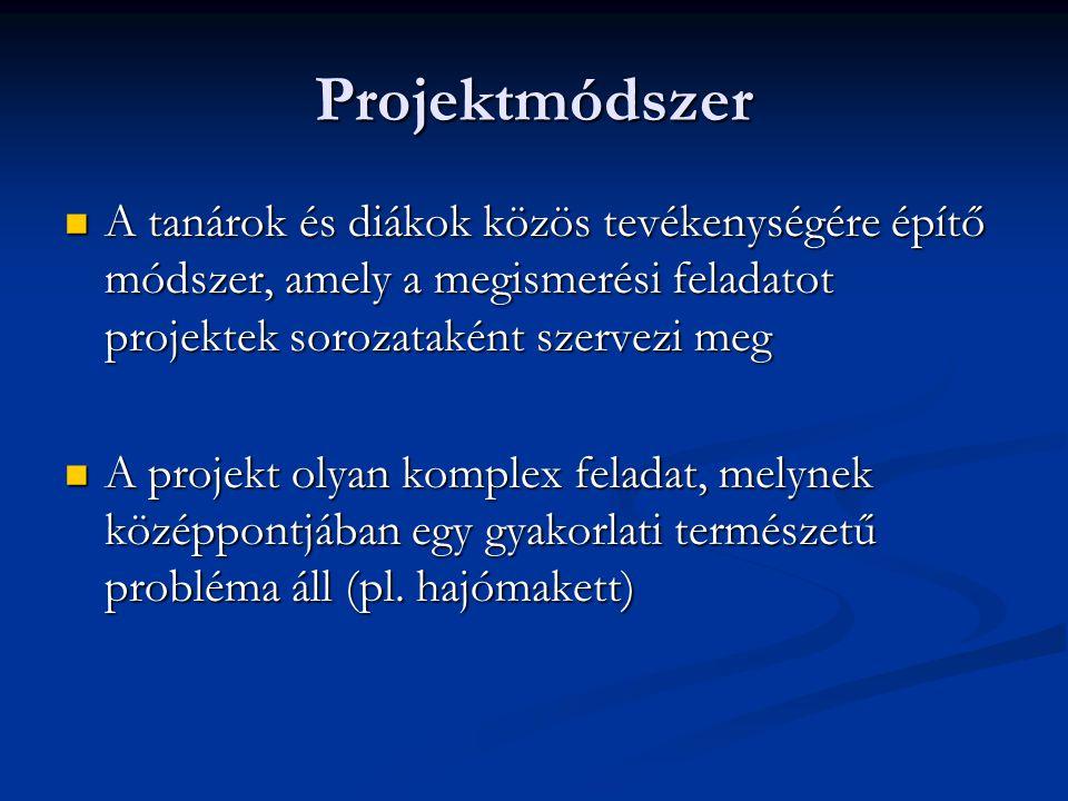 Projektmódszer A tanárok és diákok közös tevékenységére építő módszer, amely a megismerési feladatot projektek sorozataként szervezi meg.