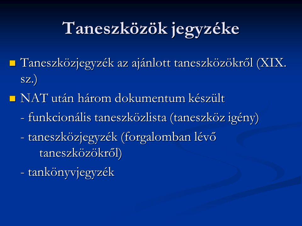 Taneszközök jegyzéke Taneszközjegyzék az ajánlott taneszközökről (XIX. sz.) NAT után három dokumentum készült.
