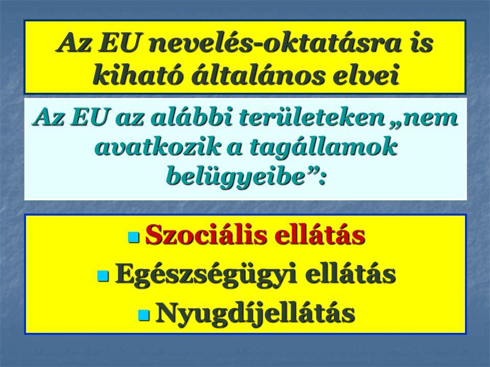 Az EU nevelés-oktatásra is kiható általános elvei