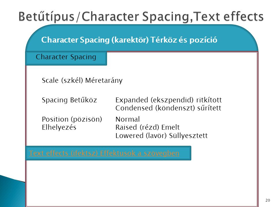 Betűtípus/Character Spacing,Text effects