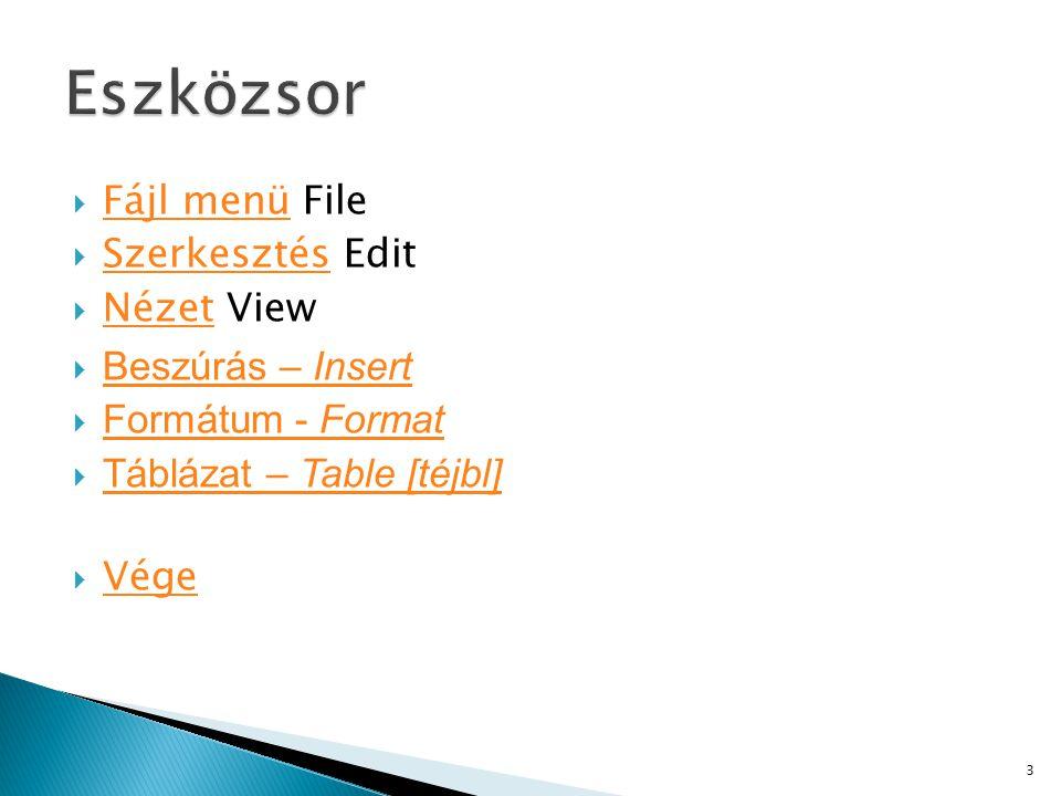 Eszközsor Fájl menü File Szerkesztés Edit Nézet View Beszúrás – Insert
