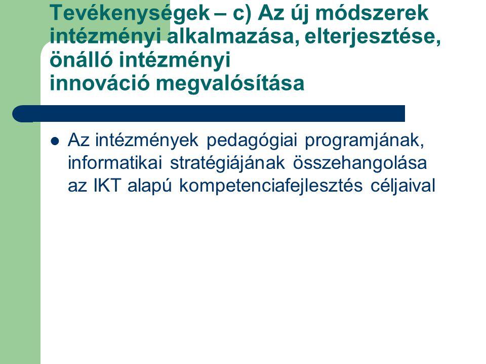 Tevékenységek – c) Az új módszerek intézményi alkalmazása, elterjesztése, önálló intézményi innováció megvalósítása