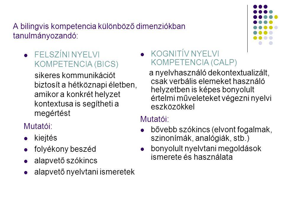 A bilingvis kompetencia különböző dimenziókban tanulmányozandó: