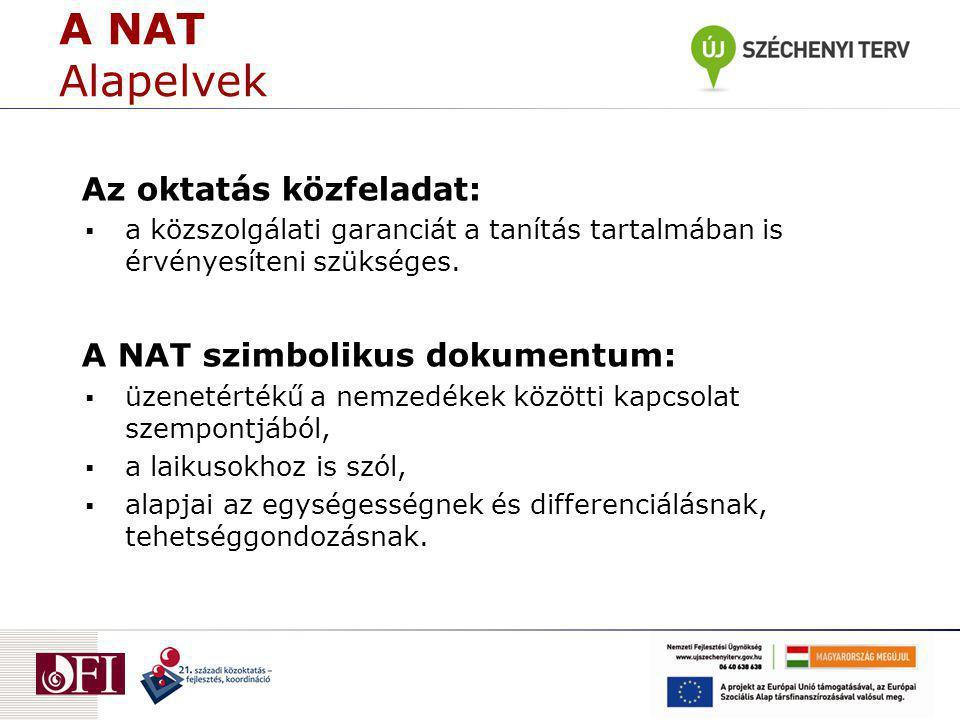 A NAT Alapelvek Az oktatás közfeladat: A NAT szimbolikus dokumentum: