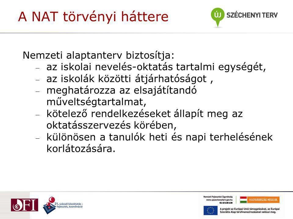 A NAT törvényi háttere Nemzeti alaptanterv biztosítja: