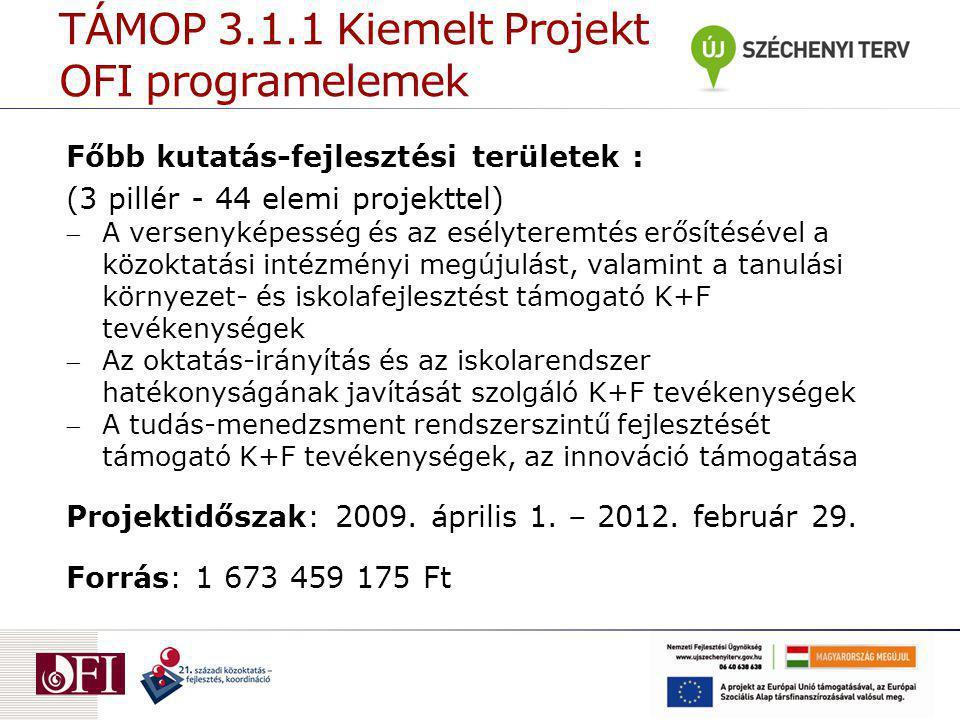 TÁMOP 3.1.1 Kiemelt Projekt OFI programelemek