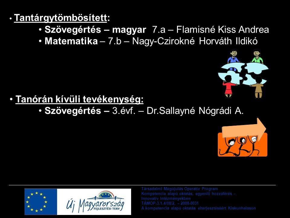 Szövegértés – magyar 7.a – Flamisné Kiss Andrea