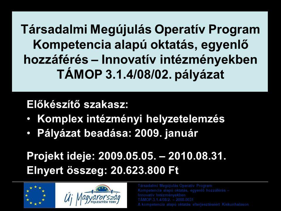 Társadalmi Megújulás Operatív Program Kompetencia alapú oktatás, egyenlő hozzáférés – Innovatív intézményekben TÁMOP 3.1.4/08/02. pályázat