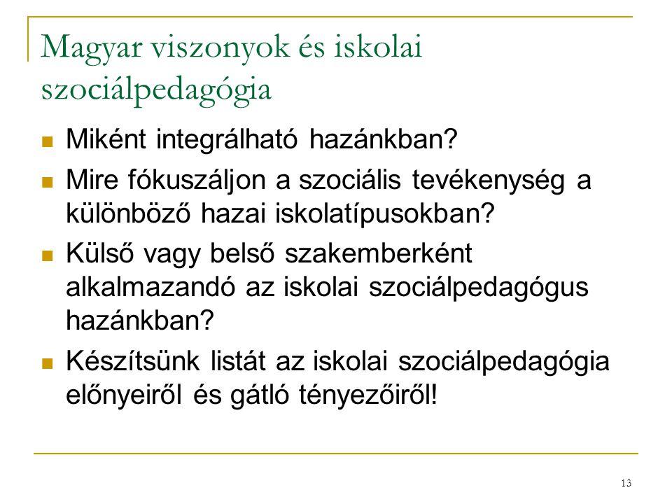 Magyar viszonyok és iskolai szociálpedagógia
