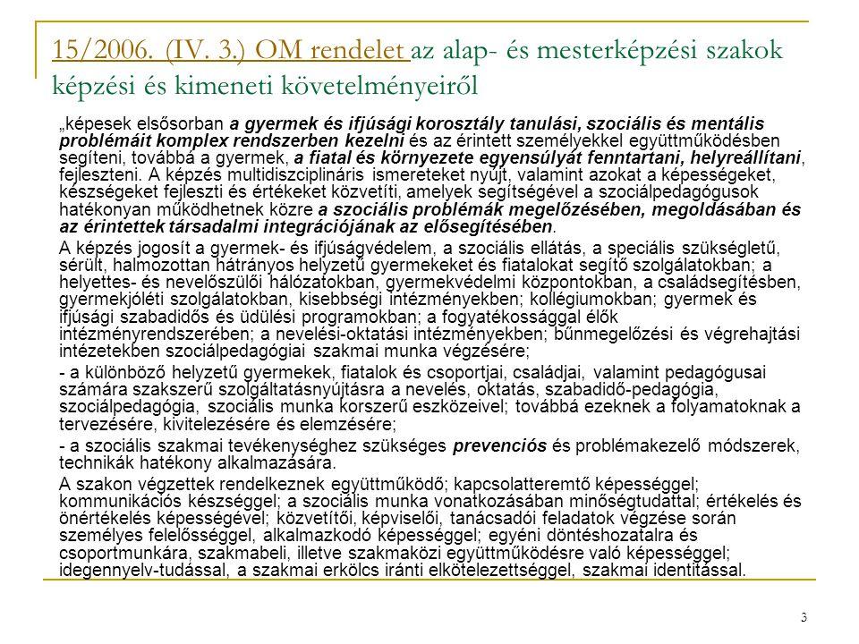 15/2006. (IV. 3.) OM rendelet az alap- és mesterképzési szakok képzési és kimeneti követelményeiről