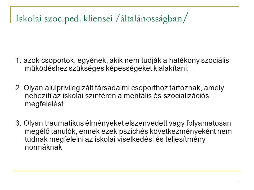 Iskolai szoc.ped. kliensei /általánosságban/