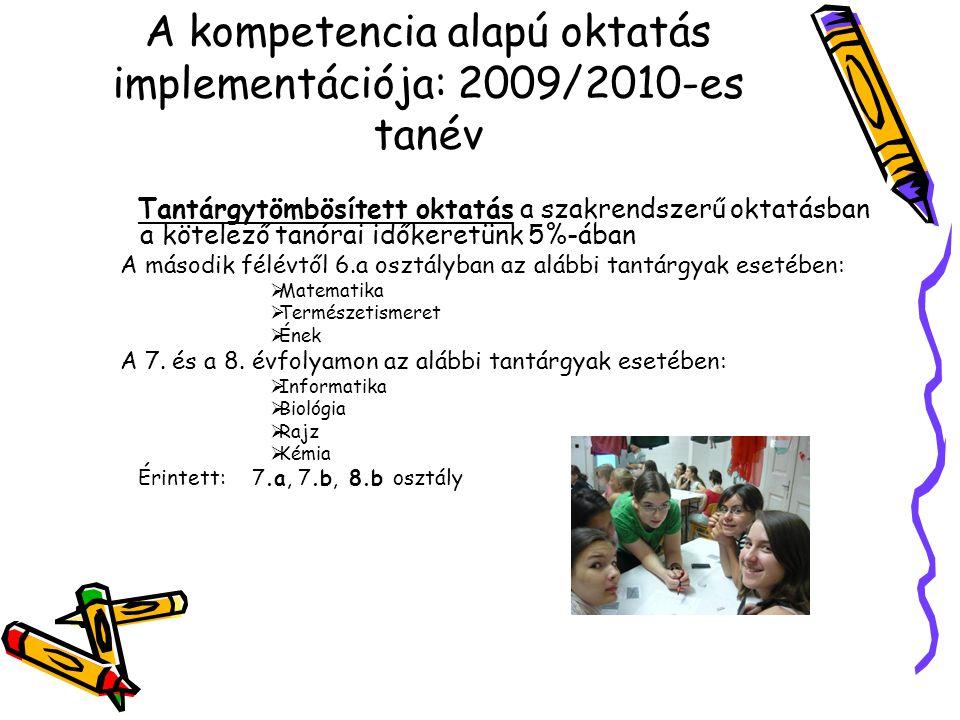 A kompetencia alapú oktatás implementációja: 2009/2010-es tanév