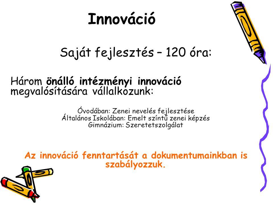 Az innováció fenntartását a dokumentumainkban is szabályozzuk.