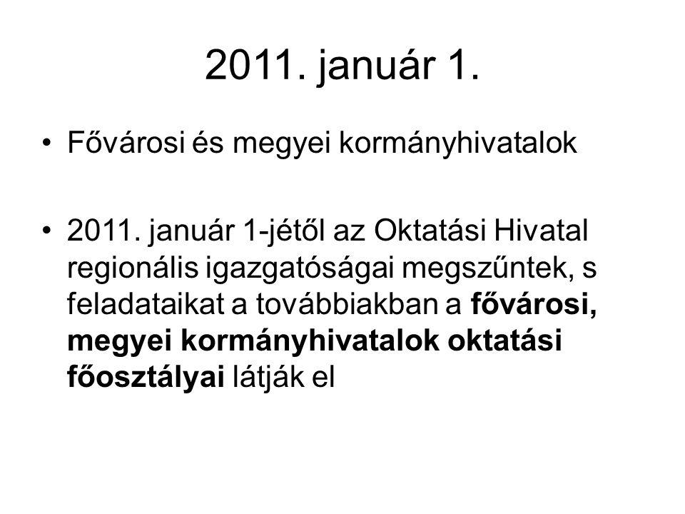 2011. január 1. Fővárosi és megyei kormányhivatalok