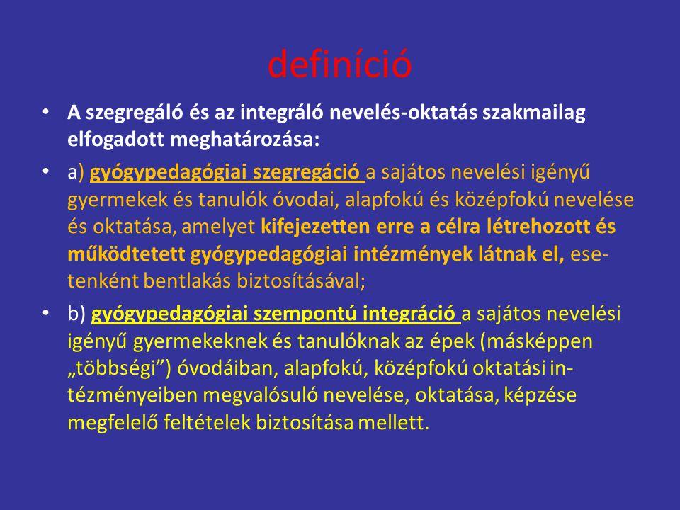 definíció A szegregáló és az integráló nevelés-oktatás szakmailag elfogadott meghatározása: