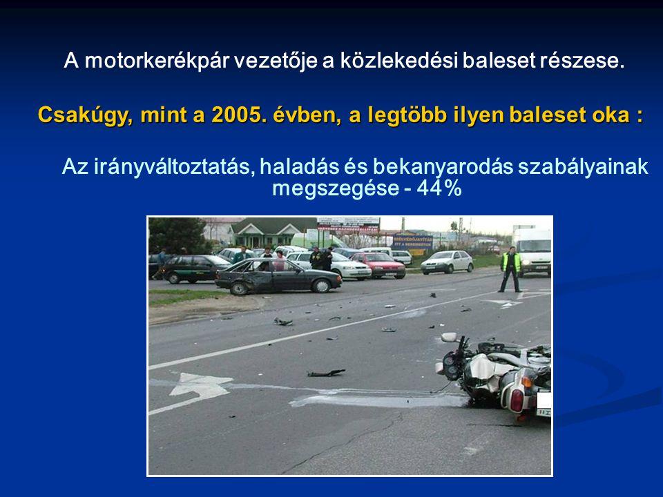 A motorkerékpár vezetője a közlekedési baleset részese.