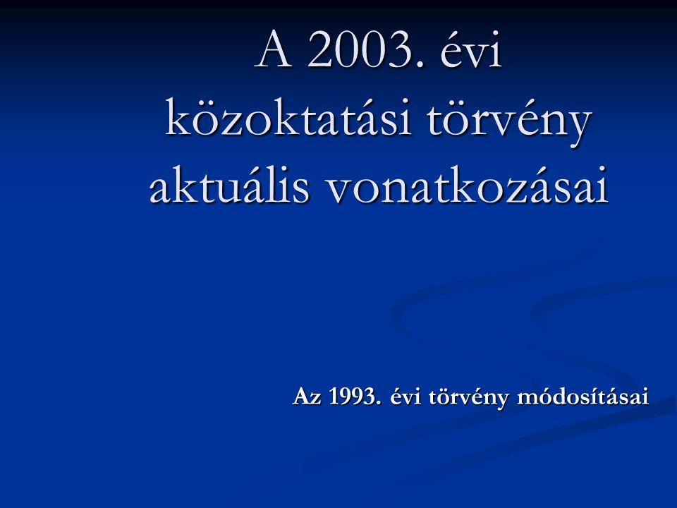 A 2003. évi közoktatási törvény aktuális vonatkozásai
