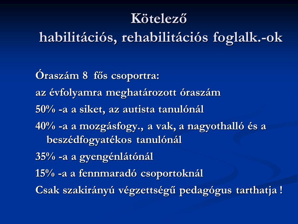 Kötelező habilitációs, rehabilitációs foglalk.-ok