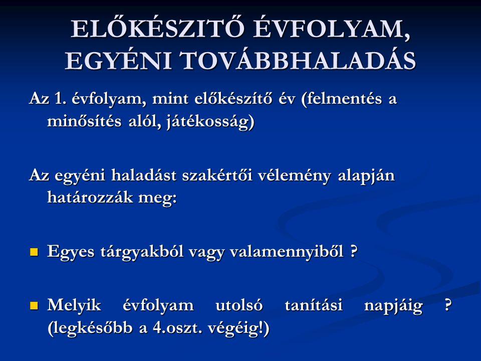 ELŐKÉSZITŐ ÉVFOLYAM, EGYÉNI TOVÁBBHALADÁS