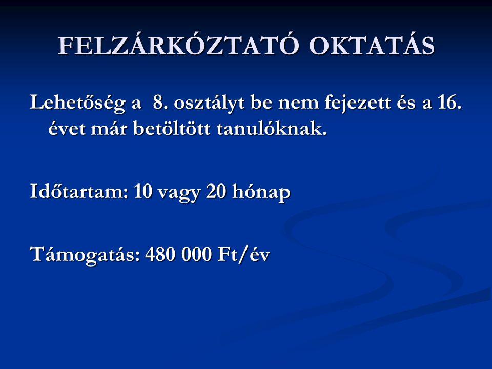 FELZÁRKÓZTATÓ OKTATÁS