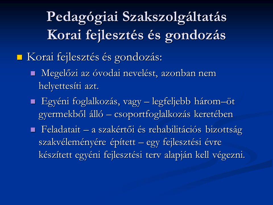 Pedagógiai Szakszolgáltatás Korai fejlesztés és gondozás