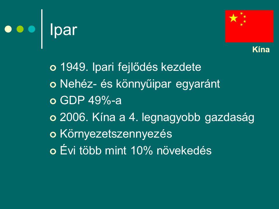 Ipar 1949. Ipari fejlődés kezdete Nehéz- és könnyűipar egyaránt