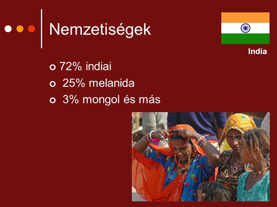 Nemzetiségek India 72% indiai 25% melanida 3% mongol és más