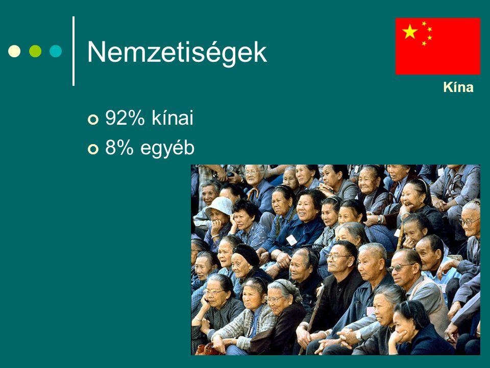 Nemzetiségek Kína 92% kínai 8% egyéb