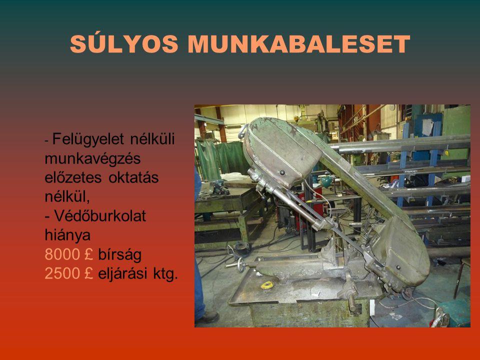 SÚLYOS MUNKABALESET - Védőburkolat hiánya 8000 £ bírság